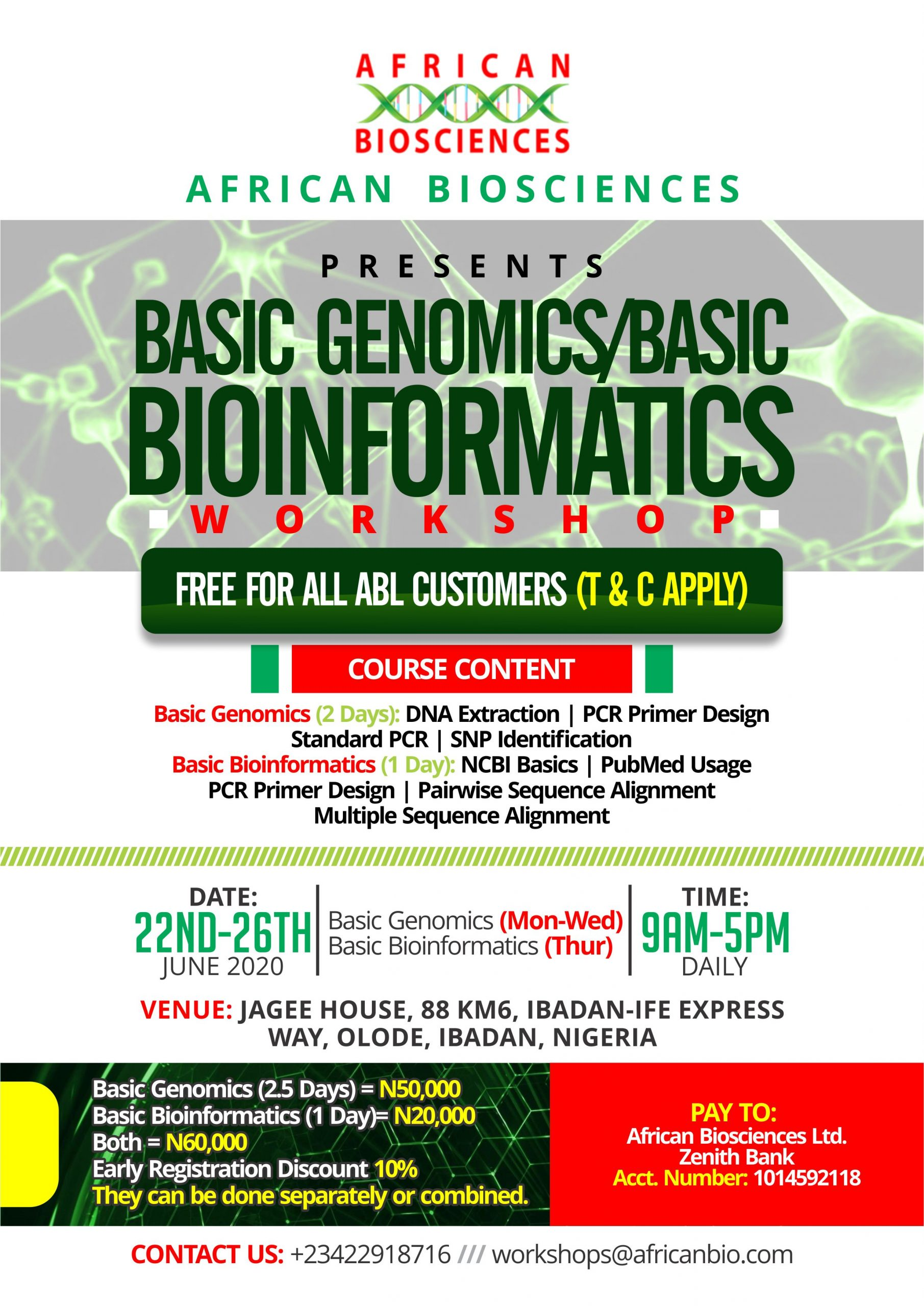 African Biosciences Basic Genomics and Basic Bioinformatics Workshop, June 2020