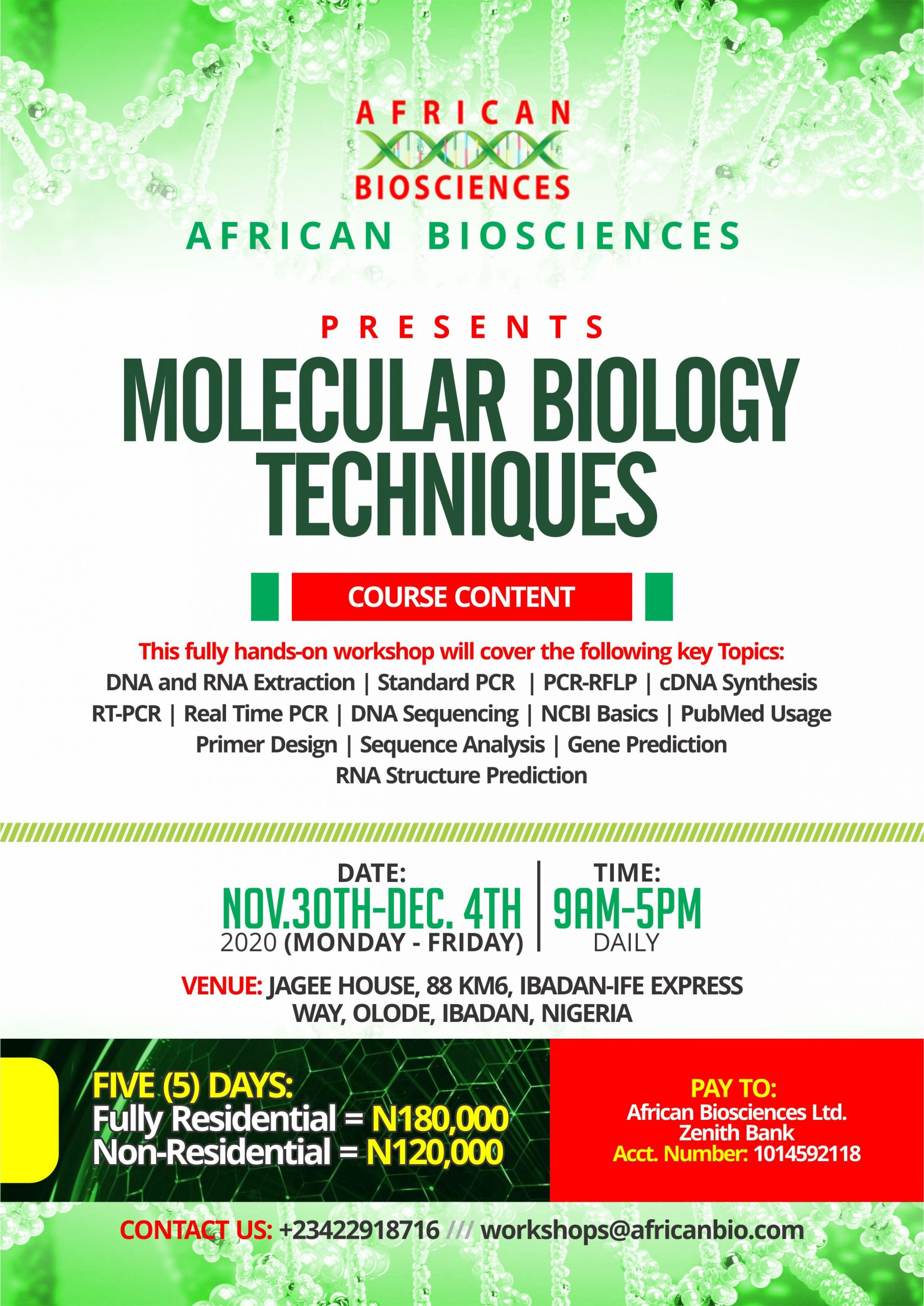 African Biosciences Molecular Biology Techniques Workshop, November 2020h