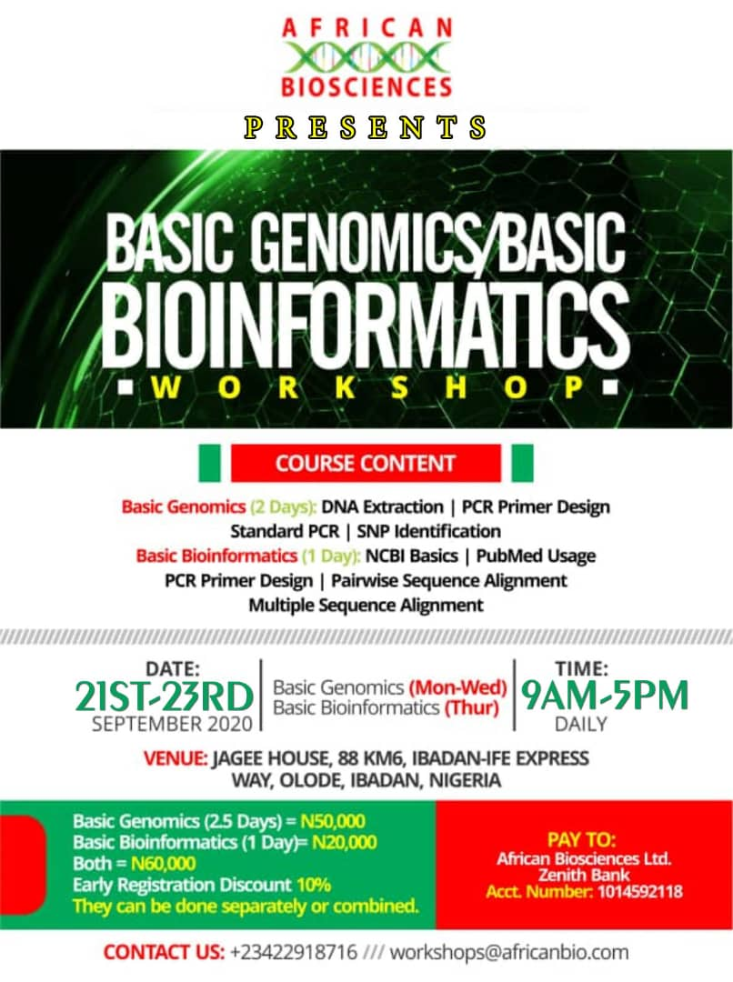 African Biosciences Basic Genomics and Basic Bioinformatics Workshop, September 2020